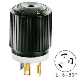 Bryant 70630NP TECHSPEC® Plug, L6-30, 30A, 250V, Black/White