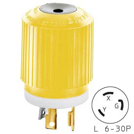 Bryant 70630NPCR TECHSPEC® Plug, CM, L6-30, 30A, 250V, Yellow