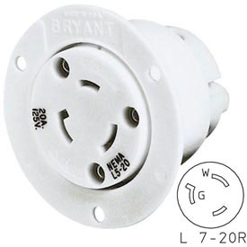 Bryant 70720ER TECHSPEC® Single Receptacle, L7-20, 20A, 277V AC, White