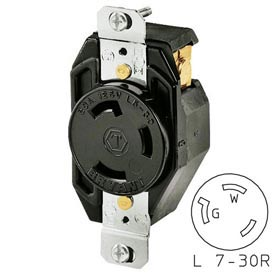 Bryant 70730FR TECHSPEC® Receptacle, L7-30, 30A, 277V AC, Black