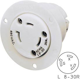Bryant 70830ER TECHSPEC® Receptacle, L8-30, 30A, 480V AC, White
