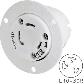 Bryant 71030ER TECHSPEC® Receptacle, L10-30, 30A, 125/250V, White