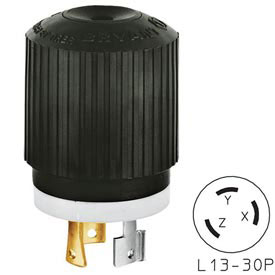 Bryant 71330NP TECHSPEC® Plug, L13-30, 30A, 3ph 600V AC, Black/White