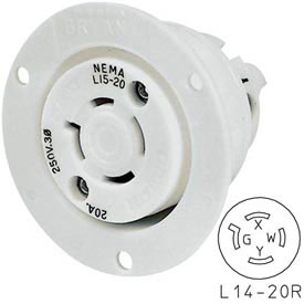 Bryant 71420ER TECHSPEC® Receptacle, L14-20, 20A, 125/250V, White