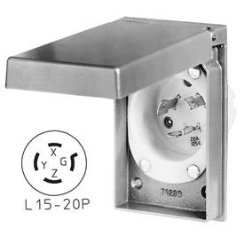 Bryant 71520MBWP Weather Protective Power Inlets, L15-20, 20A, 3ph 250V, Aluminum