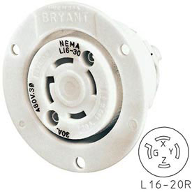 Bryant 71620ER TECHSPEC® Receptacle, L16-20, 20A, 3ph 480V AC, White