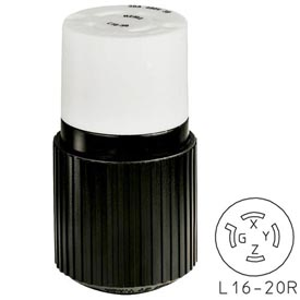Bryant 71620NP TECHSPEC® Plug, L16-20, 20A, 3ph 480V AC, Black/White