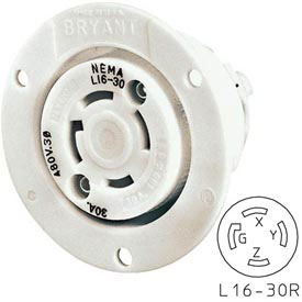 Bryant 71630ER TECHSPEC® Receptacle, L16-30, 30A, 3ph 480V AC, White