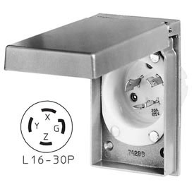 Bryant 71630MBWP Weather Protective Power Inlets, L16-30, 30A, 3ph 480V AC, Aluminum