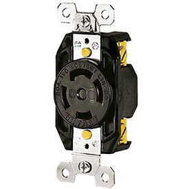 Bryant 71830FR TECHSPEC® Receptacle, L18-30, 30A, 3ph 120/208V AC, Black