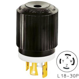 Bryant 71830NP TECHSPEC® Plug, L18-30, 30A, 3ph 120/208V AC, Black/White