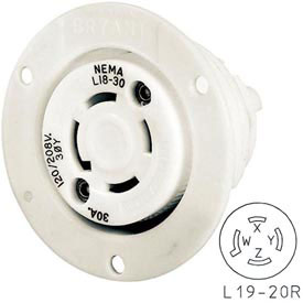 Bryant 71920ER TECHSPEC® Receptacle, L19-20, 20A, 3ph 277/480V AC, White