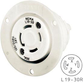 Bryant 71930ER TECHSPEC® Receptacle, L19-30, 30A, 3ph 277/480V AC, White