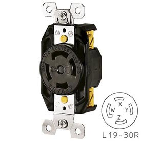 Bryant 71930FR TECHSPEC® Receptacle, L19-30, 30A, 3ph 277/480V AC, Black