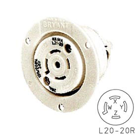 Bryant 72030ER TECHSPEC® Receptacle, L20-30, 30A, 3ph 347/600V AC, White