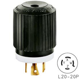 Bryant 72120NP TECHSPEC® Plug, L21-20, 20A, 3ph 120/208V AC, Black/White