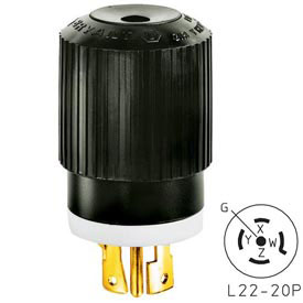 Bryant 72220NP TECHSPEC® Plug, L22-20, 20A, 3ph 277/480V AC, Black/White