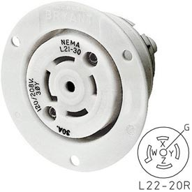 Bryant 72230ER TECHSPEC® Receptacle, L22-30, 30A, 3ph 277/480V AC, White