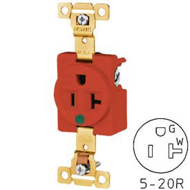 Bryant 8310RED TECHSPEC® Hospital Grade Single Receptacle, 20A, 125V, Red
