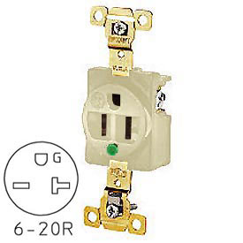 Bryant 8410I TECHSPEC® Hospital Grade Single Receptacle, 20A, 250V, Ivory