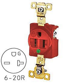 Bryant 8410RED TECHSPEC® Hospital Grade Single Receptacle, 20A, 250V, Red