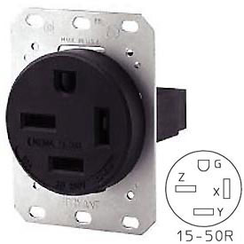 Bryant 8450FR Single Flush Receptacle, 50A, 3ph 250V, Black