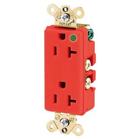 Bryant 9200REDL Hospital Grade, 15A, 125V Receptacle, Illuminated Face, Red