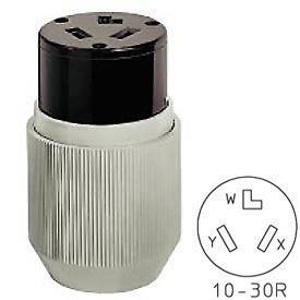 Bryant 9337NC Straight Blade Connector, 30A, 125/250V, Gray