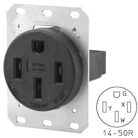 Bryant 9450FR Single Flush Receptacle, 50A, 125/250V, Black