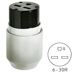 Bryant 9630NC Straight Blade Connector, 30A, 250V, Gray