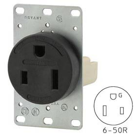 Bryant 9650FR Single Flush Receptacle, 50A, 250V, Black