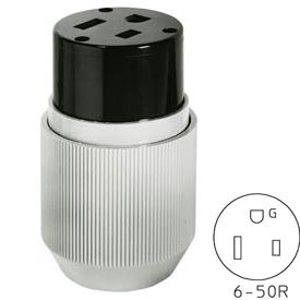 Bryant 9650NC Straight Blade Connector, 50A, 250V, Gray