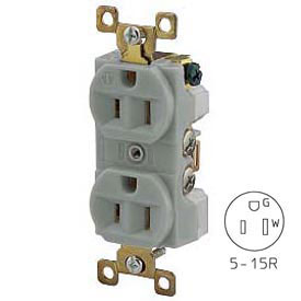Bryant BRY5262GRY TECHSPEC® Industrial Grade Duplex Receptacle, 15A, 125V, Gray