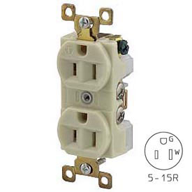 Bryant BRY5262I TECHSPEC® Industrial Grade Single Rcpt, 15A, 125V, Ivory, Self Grounding