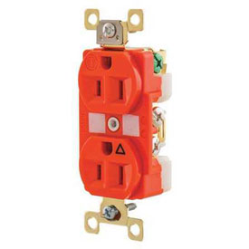 Bryant BRY5262IG TECHSPEC® Industrial Grade Single Rcpt, 15A, 125V, Orange, Isolated Ground