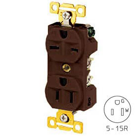 Bryant BRY5292 Combination Receptacle, Brown, Self Ground