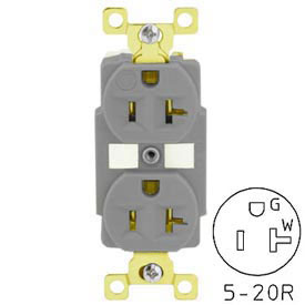 TECHSPEC® Industrial Grade Duplex Receptacle, 20A, 125V, Gray, Self Ground