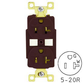 Bryant BRY5382 TECHSPEC® Industrial Grade Duplex Receptacle, 20A, 125V, Brown
