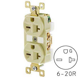 Bryant BRY5462I TECHSPEC® Industrial Grade Duplex Receptacle, 20A, 250V, Ivory