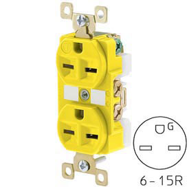 Bryant BRY5662CR TECHSPEC® Industrial Grade Duplex Receptacle, 15A, 250V, Yellow