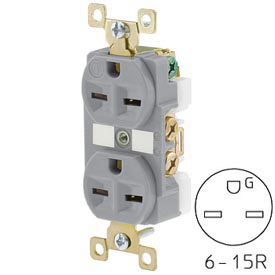 Bryant BRY5662GRY TECHSPEC® Industrial Grade Duplex Receptacle, 15A, 250V, Gray