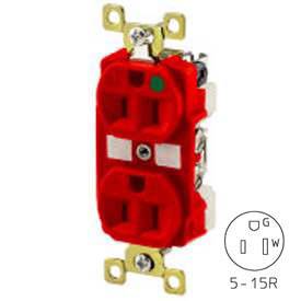 Bryant BRY8200RED TECHSPEC® Hospital Grade Duplex Receptacle, 15A, 125V, Red, Self Ground