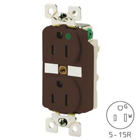 Bryant BRY8200TR TECHSPEC® Hospital Grade Duplex Receptacle, 15A, 125V, Brown