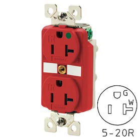 Bryant BRY8300RTR TECHSPEC® Hospital Grade Duplex Receptacle, 20A, 125V, Red