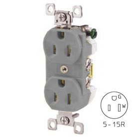 Bryant CBRS15GRY Commercial Grade Duplex Receptacle, 15A, 125V, Gray, Self Ground