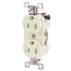 Bryant CBRS15W Commercial Grade Duplex Receptacle, 15A, 125V, White, Self Ground