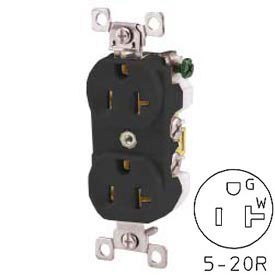 Bryant CBRS20BLK Commercial Grade Duplex Receptacle, 20A, 125V, Black, Self Ground