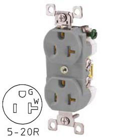 Bryant CBRS20GRY Commercial Grade Duplex Receptacle, 20A, 125V, Gray, Self Ground