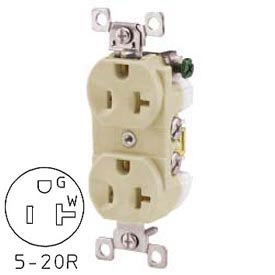 Bryant CBRS20I Commercial Grade Duplex Receptacle, 20A, 125V, Ivory, Self Ground