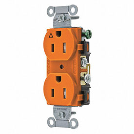 Bryant CR15IG Commercial Grade Duplex Receptacle, 15A, 125V, Orange